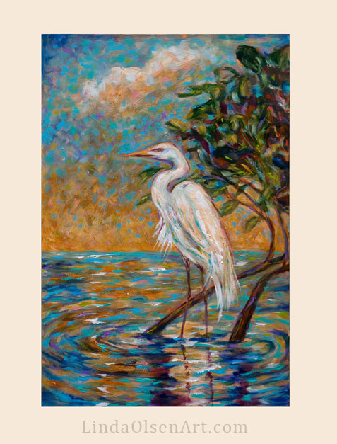 """Afternoon Egret"" is 18x36 and is an evolving technique that I am exploring. Many, many layers of colors, glazes and brushed tints were used."