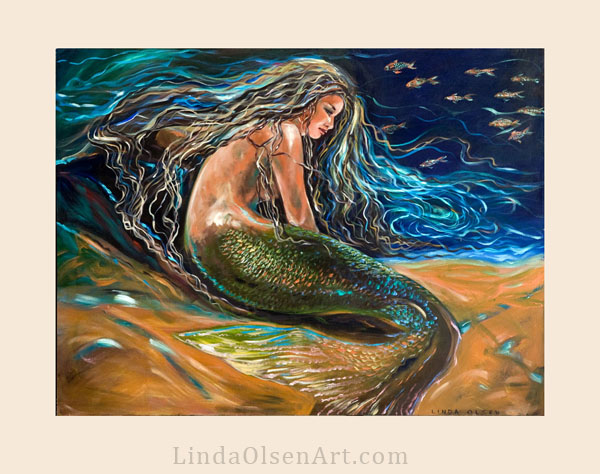 This painting was started in 2006 and recently I made numerous changes to it. I think is much more interesting...a portrait of a mermaid as she rests along the bottom of the sea, her hair floating gently all around.