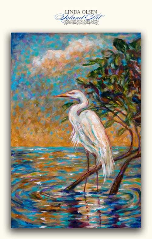 "A relatively new painting called ""Afternoon Egret"" is 24x36"" acrylic on canvas gallery wrap. It has many layers of glazes and colors and even metallics embedding in the painting."