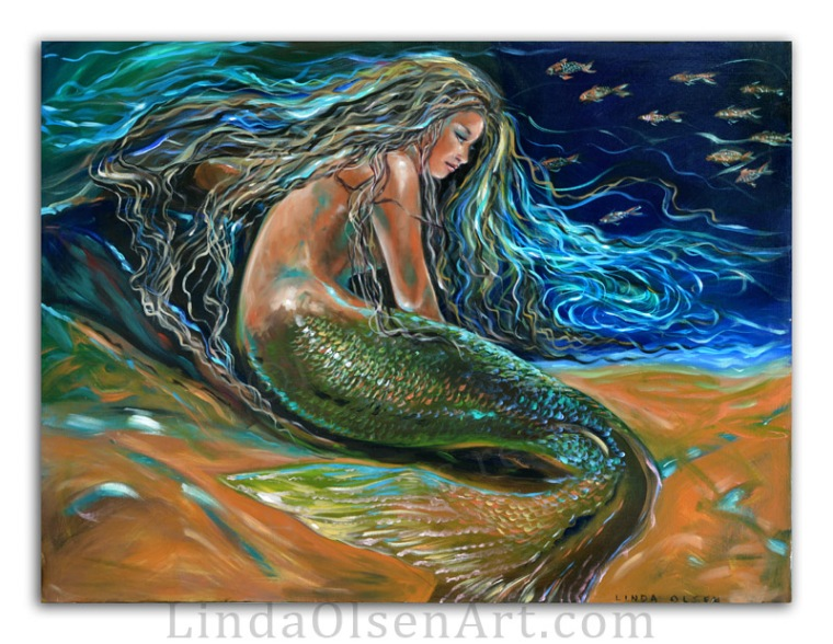 A couple of weeks ago, I posted a new mermaid painting that was a revised painting from 2006. After I put a final coat of varnish onthe painting, I noticed a bit of pull of and smudging of paint even though I waited over 24 hours to varnish. Grrr. ANyway, I had to put a coat of clear gesso over the varnish and repaint her face and skin. Then I let it cure for a week before varnishing it. This time it is great. Possibly no one would have noticed the slight imperfections but I did so the additional work was worth it. Obviously the face  is slightly different after reworking but I like it better. She has a more ethereal expression.