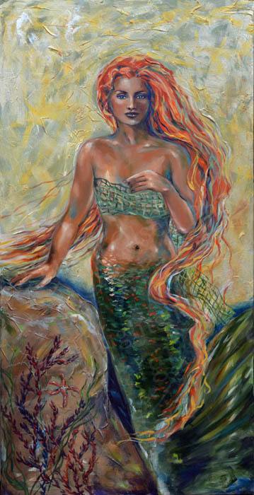 """Blaise"" is a fiery redhead who used a fishing net as a wrap. It is 24x48x2"" gallery wrap acrylic with metallics and raised textures. The original, custom canvas giclees and prints are available."