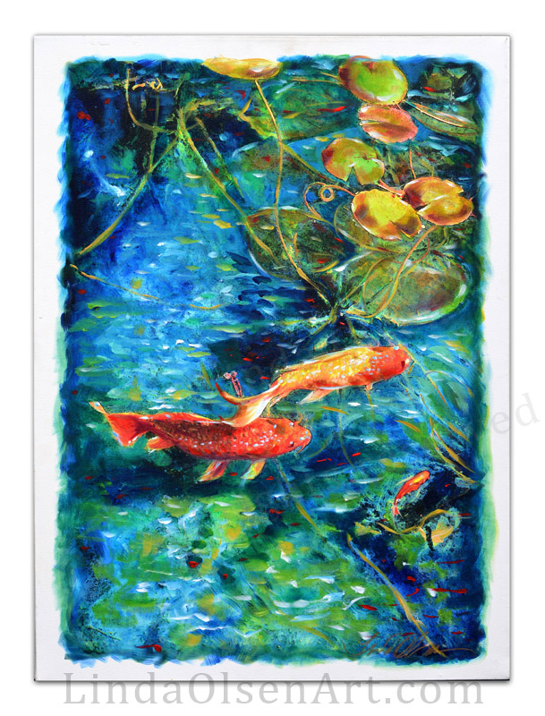 About ten years ago, I shot some koi in a pond and created digital artwork from that. I had the two images printed on canvases and then they sat for many years. Then this week, I started to paint over the giclee with acrylic paints and glazes. I really like the combination of photo and paints creating a different effect. They are both available for sale and are 22x30 gallery wrapped canvas. They can be displayed with or without framing.