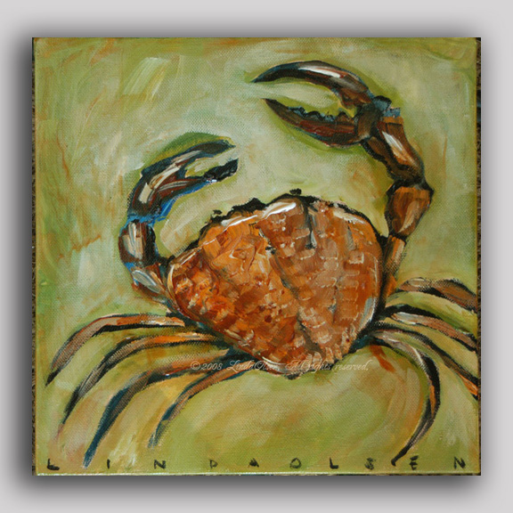 """Olive Crab"" is 10x10"" gallery wrap and perfect for a kitchen nook. It is on sale for 85.00 and was 145.00. Contact me if interested."