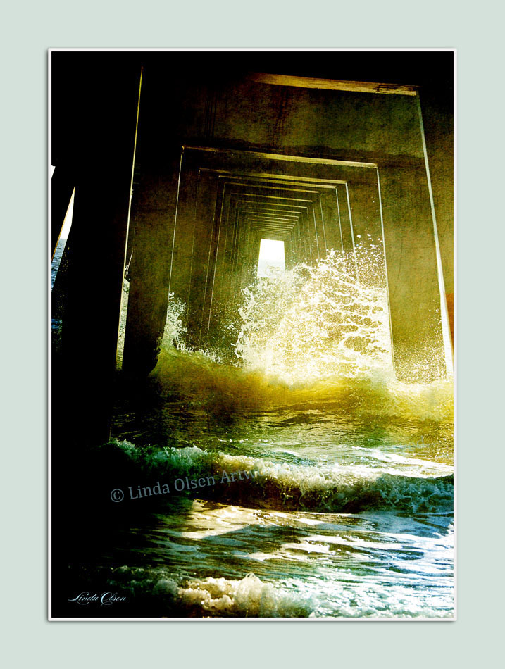 """Inside the Pilings"" of the Jacksonville Beach Pier has some interesting architectural features and then the movement of the waves crashing through. CUstom archival prints can be ordered from any of these art pieces."