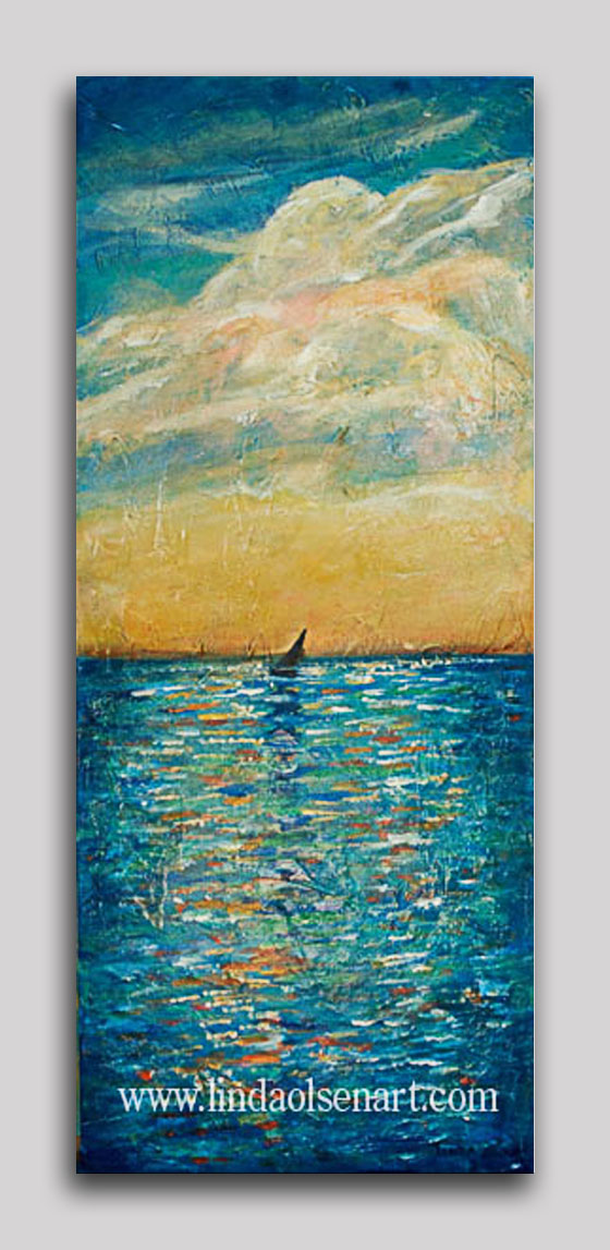 """Sail on the Horizon"" was painted a year ago and is now on sale at my inventory reduction sale. It is 12x30"" gallery wrap with lots of texture. Sale priced at $185.00 (originally 345.). Contact me at lindaolsenart@gmail.com if you are interested. I take all major credit cards and ship anywhere."