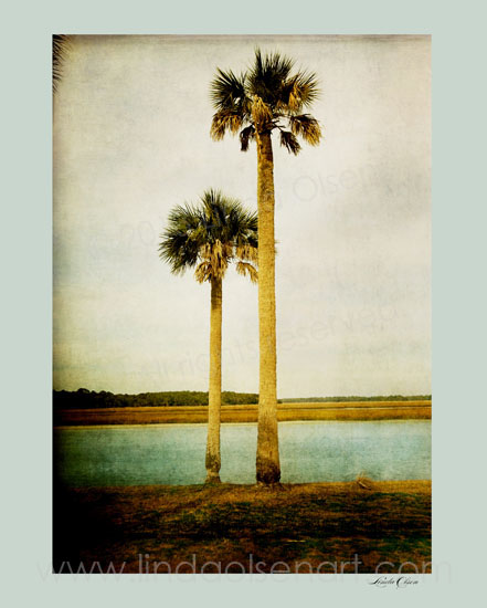 """I photographed these two lonely palms while waiting to take the Mayport Ferry back to """"da island"""". Then I added multiple layers of texture and tinting, dodging and burning areas to create a more painterly photograph. I like the calmness of the scene. By the way, do you think I am posting too often. My thoughts were to post one piece of art per day. I have been obsessed with painting and creating photographic fine art for weeks so I have a lot to share."""