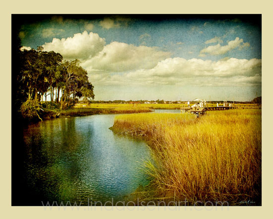 "This toned and layered photograph was shot at one of my favorite spots on Kings Road in Neptune Beach. There is a view with no houses of the marsh on one side and then looks west to the sunsets on the Intercoastal River. It is very peaceful. I have 20x16"" limited edition prints available on sale. Contact me if interested. 20x16 fit standard frames so this would make a nice image on a wall. Sale is $65.00 for a limited time. (normally $125.)"