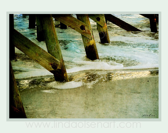 I have always enjoyed the way the waves and tide crash up against the pilings of a pier. This happens to be the old Atlantic Beach Pier which was destroyed by a hurricane years ago. You just don't see the old wooden pilings anymore since cent is more durable. There is a lot of grafitti on the wood but still quite beautiful.