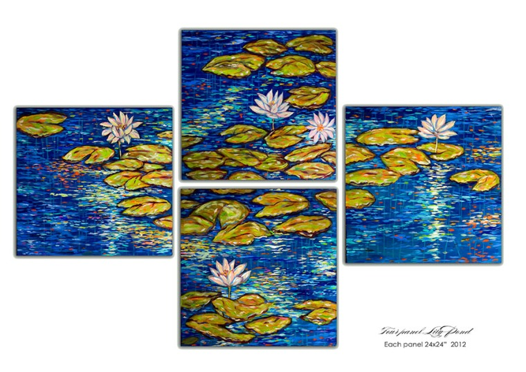 This is a 4 section painting with each section 2x2 feet on masonite boards. SInce its layed out to create one painting on the wall, it covers a space of 6 x 4 feet. This painting is on a sale price so inquire at lindaolsenart@gmail.com. It would really be nice in a dining room.