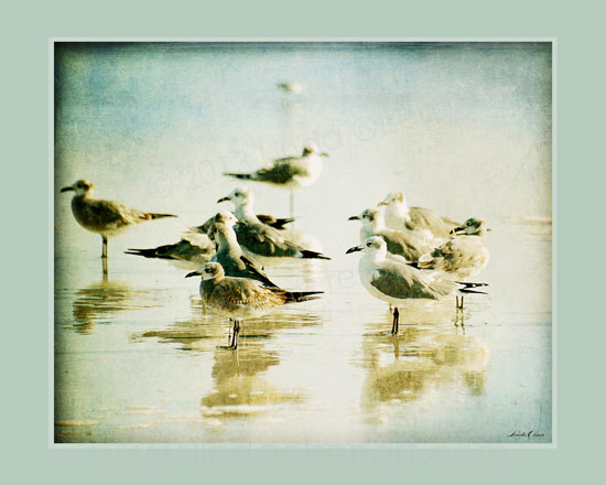 This print is a  tinted and layered textured photo. Can you smell the salt air?