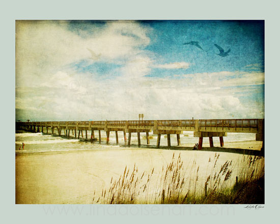 "Here are some more local pier images that are hand tinted. To order prints, contact me at lindaolsenart@gmail.com. Thanks so much. I feel pretty fortunate to live in such a lovely areas, still low key and slow. I can scooter around the""little island"" to do all of my errands."