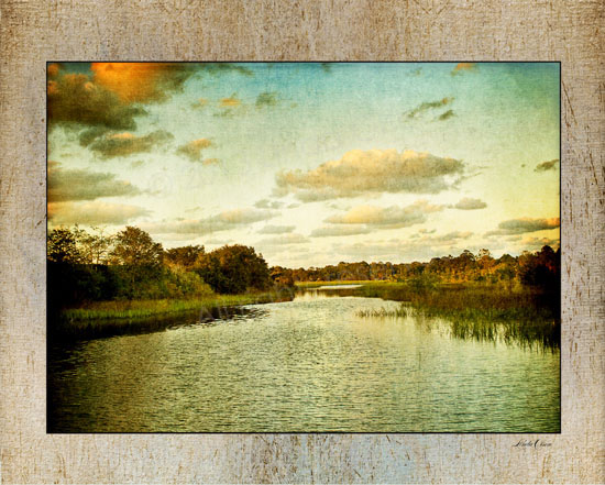 """This is from my collection of ISLAND MUSINGS and is called """"Lazy River"""". It was photographed while kayaking and then I altered the image with multiple layers of texture and tinting. I think it exudes the feeling I had on that late afternoon."""