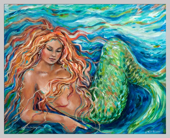 "A lovely woman form North Carolina is purchasing a very large canvas giclee of this older mermaid painting to be hung in her popular seafood restaurant. ""Mermaid Sleep"" was one of my very first mermaid paintings (possibly 1999)."