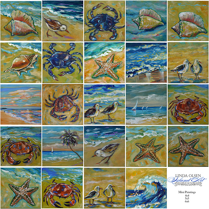 Here are some of the complementary paintings that would go nicely with the newly finished sea turtle paintings.
