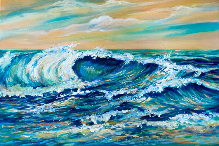 "I started this painting while teaching painting and it took another month of painting, glazing tints, adjusting depth and finally, I reached a point where I am happy with it.  It reminds me of the days at the beach when the wind is gusting and swirling up the surf, too choppy to swim and ride the waves. I used to boogie board a lot and wonder why I live so close to the beach and have not hauled my board out but a couple times a year. This painting is 36 x 24"" and ready to hang."