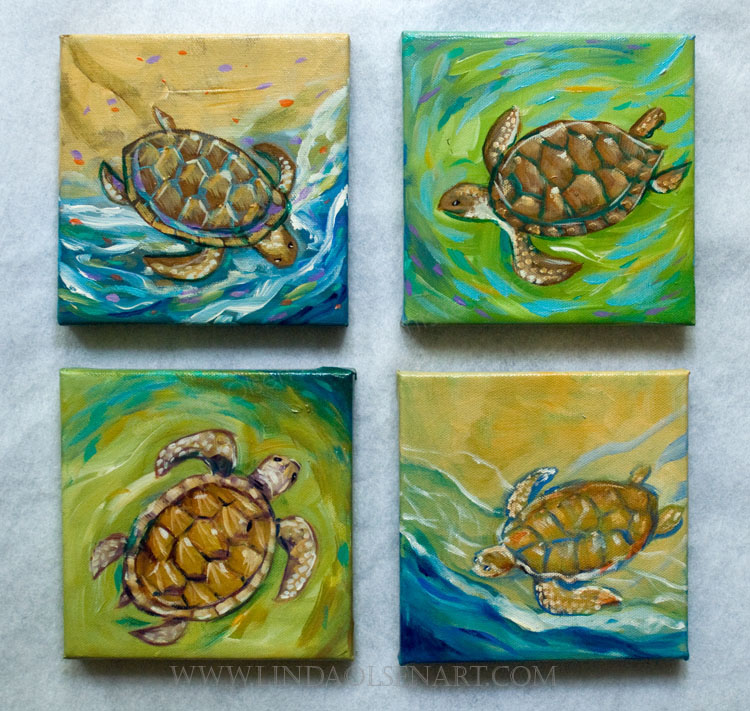 "I have been working on these whimsical sea turtle paintings for a show at First street Gallery next month and also for the RAM show this weekend.  The Sea Turtle show at FSG donates a percentage of any sales to the Sea Turtle Patrol locally.  I have completed about a dozen in the last two weeks. They range in size from 4x4, 5x5 and 6x6"". Don't you have a little space on your wall for one or two? I have also done crabs and shells so you could make a sea life statement."