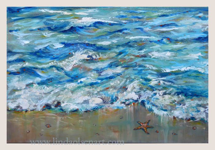 This new painting captures the movement of the shoreline on a windy day. A single starfish is about to be swallowed up by the wave. It is a medium sized painting so fits nicely on a lot of walls...and since its a gallery wrap, no framing is needed. The painting continues on the edges.