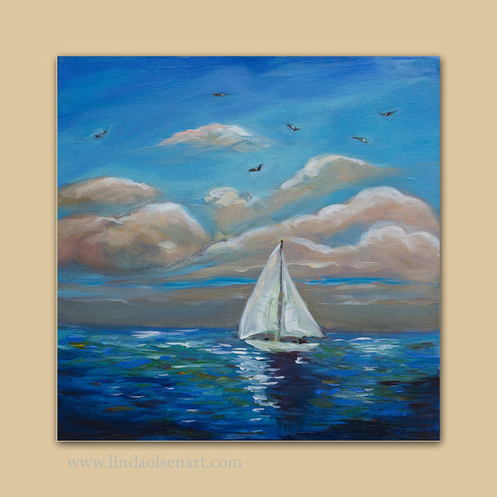 "This is the first painting in the series called ""Sailing with my Dad"". It reminds me so much of days while sailing offshore on a blazing California day with very little wind. We were in no particular hurry. Its 14x14x2"". The rest of the series will shore other boats with a similar feeling. Do you think 14x14"" is too small?"