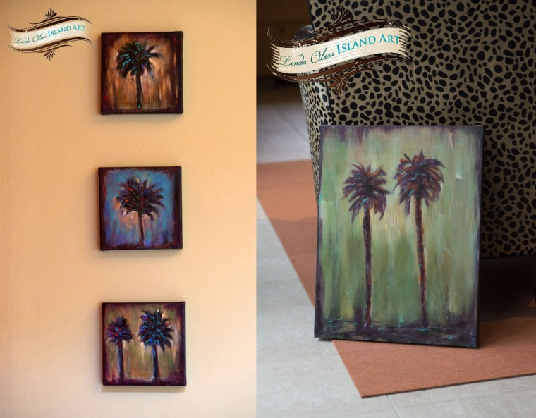 Here are the other two paintings I did. The three on the left were sold Sunday and the larger olive palm is nearly completed. I plan on putting some bronze leaf into the paint this week.