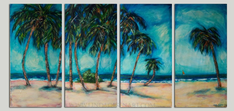 "I am having an inventory reduction sale. This 4 panel painting (each panel is 15x30"") was 900.00 and now is 395.00. First person to get in touch will own it. I need room for my newer works.Contact me at lindaolsenart@gmail.com"