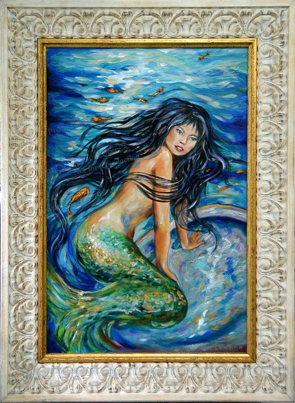 This week I worked on an older painting and changed certain elements like adding hair that swirled around her body, added more fish, made the hair more flowing and added more highlights and color in the water. What do you think? Oh the new one is in the frame.