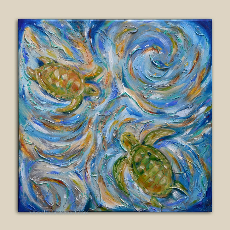 "This is a new painting called ""Sea Turtles in the Current"" was painted for a show about Sea Turtles at First Street Gallery. A portion of the sales will go to the Sea Turtle Patrol at the Beaches. Its 40x40 with many layers, textures, metallics and plasters."