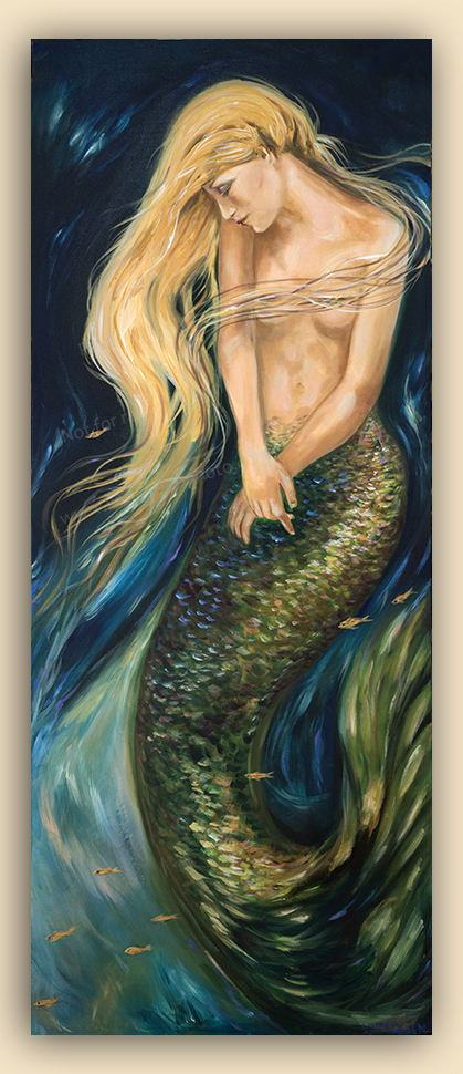 """Asleep in the Dark"" is a 20x50"" original painting that I created about ten years ago. I always rather liked it but it was an odd size and because the underwater diva was bearing her breasts, she did not sell. So recently, I revisited it, put clear gesso on numerous areas and then proceeded to finish it. I added the little fish, repainted the scales, added hair, cleaned up some of the skin and made her more modest. As an artist, knowing when a piece is done is sometimes difficult and I am glad that I reworked this painting. I think its more attractive. Original and custom prints available."