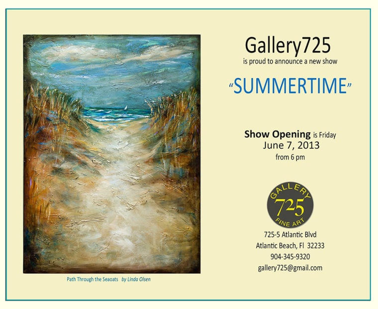 "Gallery 725 is having a show called ""Summertime"" and the opening is Friday, June 7th. I am one of the featured artists and have quite a few beach theme paintings to get you in the mood for summer...even though its rainy."