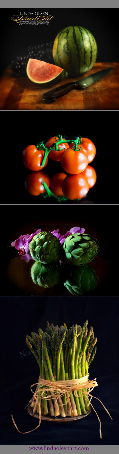 Since I do have a portrait studio, sometimes, I get excited about the food I am about to eat or setting up a still life display. It is the same principles for lighting as in photographing a person... but I generally use less soft boxes.