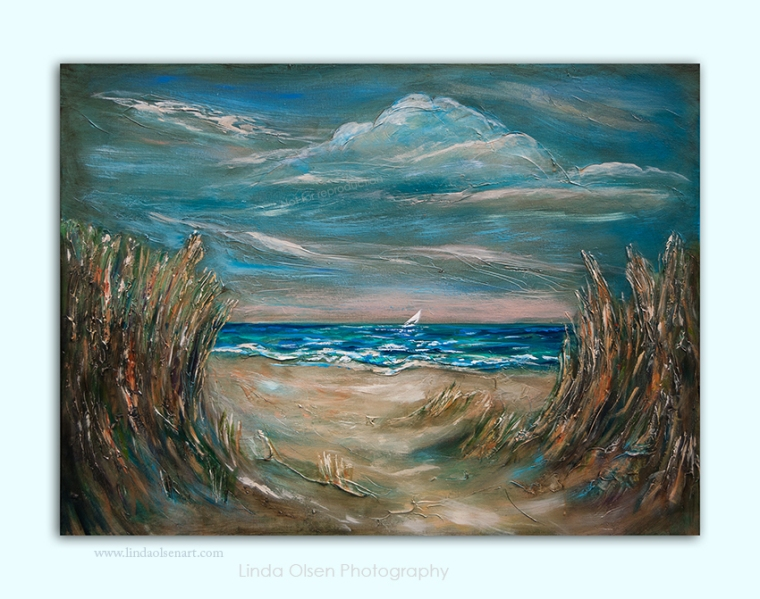"Several weeks ago, Gallery 725 had a prospective art buyer who was interested in my large painting ""Pathway Thru Dunes"" but needed a horizontal version and 40x30"". I just finished it yesterday and will bring it to the gallery when tomorrow. Today, it will get another coat of varnish, wired and signed."