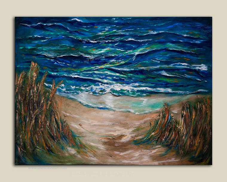 "Since I lives close to the beach and am passionate about protecting the dunes and sealife, I painted this with a baby sea turtle making his first trip to the ocean. He is so small and it must be overwhelming. I wanted to give the viewer that feeling so made the turtle tiny amongst the sea oats and surf. This painting is 40x30"" and highly textural and rather abstract. Its called ""Trek to the Surf"". If interested, please inquire."