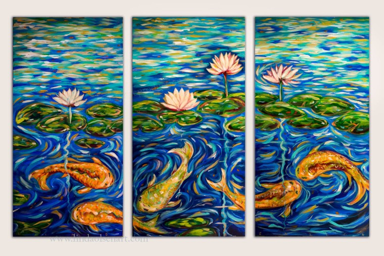 Here are some additional koi pond themed paintings for sale.  They are various sizes, all acrylic. Inquire for information on pricing and size. Affordable and stunning on a wall.