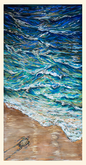 Basically, the same techniques as the previous painting but more attention was paid to the cool blues to lighter greens gradient in the surf. I wanted the jewel tones to be more obvious and the tiny little turtle dashing to the surf for the first time. This painting is 18x36.