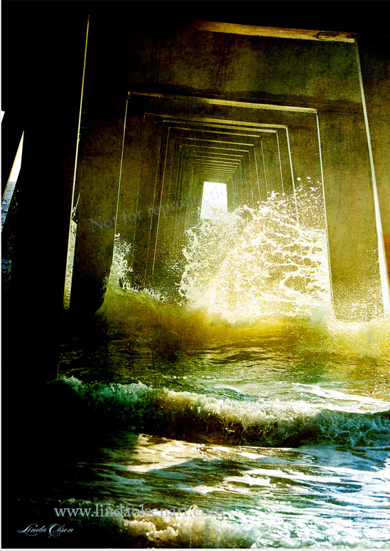 """Inside the Pilings"" was printed to 24x36"" on metallic paper. Gallery 725 did a beautiful job of printing and framing it for the client. Its a photo illustration done with multiple layers of texture and tinting that I did...Jacksonville Beach Pier."