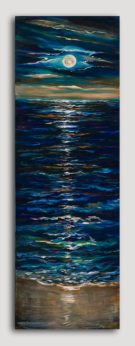 "A few weeks ago I completed a similar painting that was 18x36 (which has since SOLD) and as I was completing it, I thought of making it much larger and adding the reflection on the shore as well as making the moon full. It is 20x60"" and is available for sale."