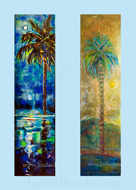 "These tall paintings were created with particular displays in mind. Sometimes, while decorating, you need something with a splash of color for interest. Here are 4 older paintings that are for sale that are 20x60 or 15 x 60""."