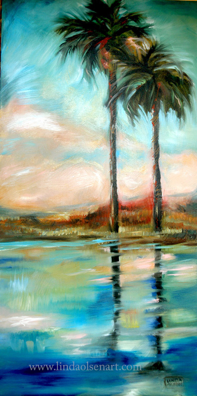 "These are older paintings from a series called ""Palm Reflections on the River"" . Each is 24 x 48 gallery wrap and are available for sale. They make a nice display on a large wall  or several in a room. The original series included 7 paintings and these are still available."