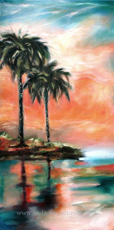 Palm reflection Sunset24x48