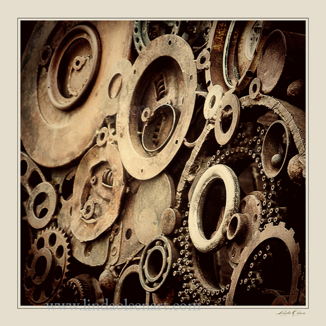 I thought that the angle of photographing these old gears and metal objects made it more interesting.#Rusty Gears