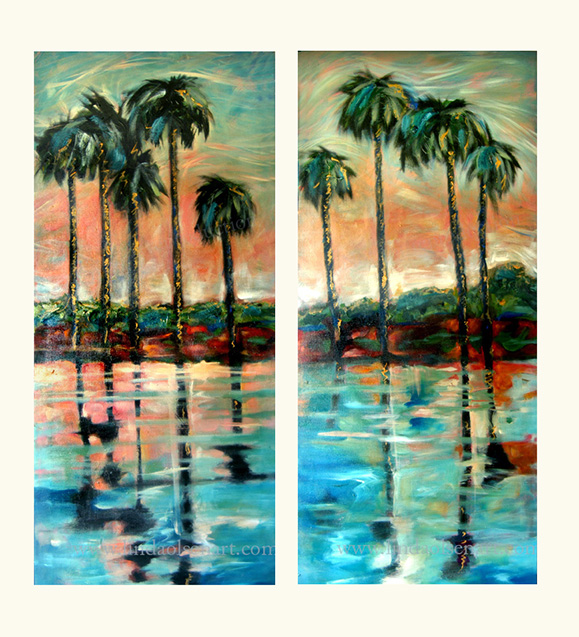 "These are a set of two paintings 22x54"" each."