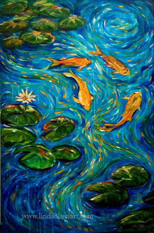 Koi Fish In Pond Linda Olsen 39 S Art Blog
