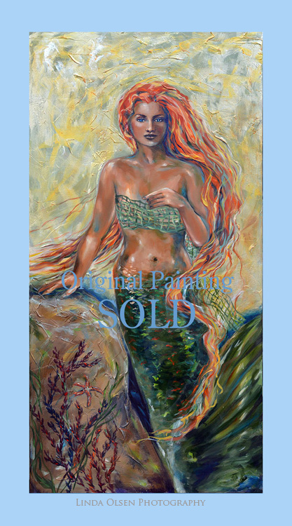 A couple in California have purchased two of my original mermaid paintings and I am shipping them this week. One of them is destined to go on their yacht named Sirena Rossa for the red haired mermaid in Italian. Obviously, I am thrilled!!