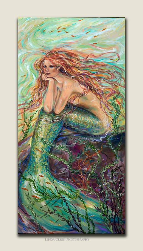 """Contemplation"" is 24x48"" and the newest mermaid painting. Hope you like it! Still, I have to put the final coating of varnish before it goes on display. Lately, I have been using several coats of final HIGH GLOSS varnish which adds gloss like it is really underwater...plus for added protection."