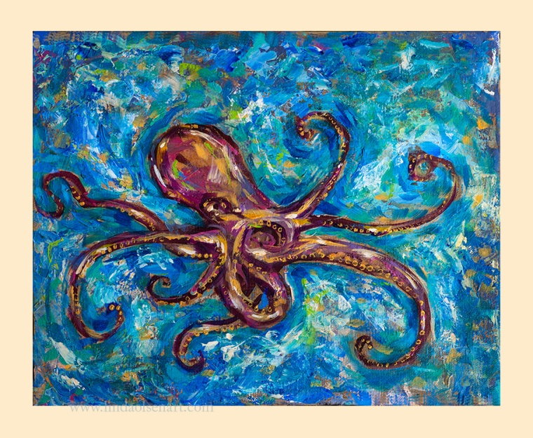 Octopus Salsa has been in the works for a few months and has taken on many changes. Being a smaller painting, 20x16, it was more difficult to get the details with a palette knife so has change colorings several times. You can see the layers in the background areas the most.