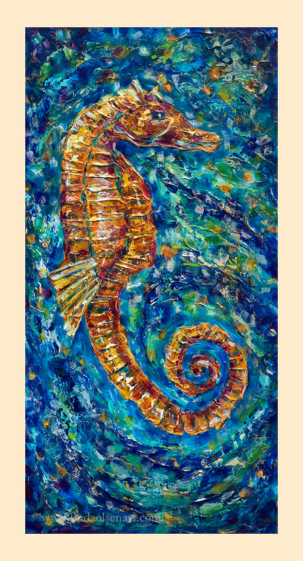 "This is my latest painting which has many layers of texture, thick paints, metallics and palette knife technique. Its called Seahorse Festivity and is a 18x36"" gallery wrap. And I wanted to show the steps that I went through to arrive at the final painting. Many weeks of layering, texture, gesso, paint, glazes went into the technique."