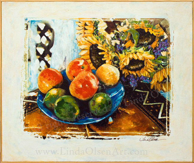 Sunflowers and Fruit 30x24