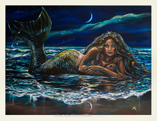 "The unveiling of a new mermaid painting: ""Under a Crescent Moon"" is 48x36"" and is a gallery wrap so no frame is necessary. Being quite large, this would be wonderful in a living room, den or formal dining room. Sometimes it is hard to know when a painting is completed and once the final varnish is set, more difficult to make changes. I was going to make the hands more distinct and complete but then, having them softer and more painterly gives more focus to the face and other details. Hope you like it!  Prints are available through me or through www.linda-olsen.artistwebsites.com"