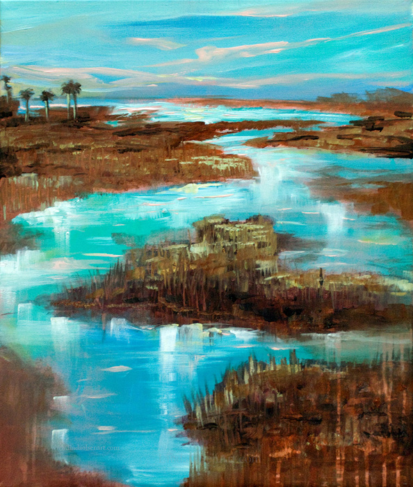 There is something about the southern landscapes that give you a sense for a slower, calmer life. Living on a coastal island peninsula with beaches on the east and marsh and the Intracoastal Waterway on the west side give me many opportunity for inspiration. These paintings are also on sale. Inquire lindaolsenart@gmail.com for sizes and prices. We take credit cards and can ship anywhere.