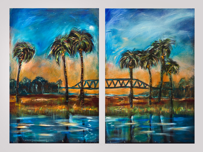 Bridge at Sunset dyptic 48x36