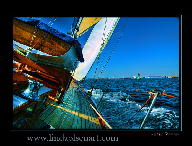 The sailboat shot is from the cockpit of our 1928 family sailboat. Many days and nights spent in my youth sailing the waters of California and the islands offshore. The waterfall image is from a trip I sailed to Grenada years ago. I tinted them all to be more colorful.